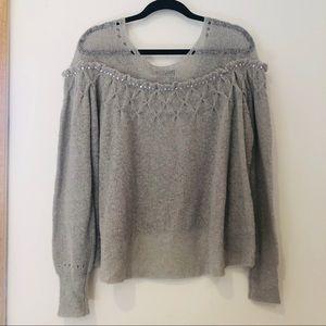 Wildfox Grey Rhinestone Ruffle Sweater
